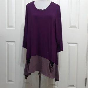 LOGO Lori Goldstein 1X burgundy purple jersey top